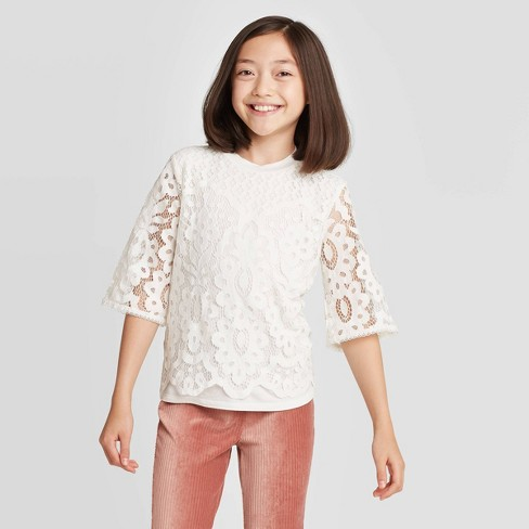 Girls' Short Sleeve Lace Top - art class™  - image 1 of 3