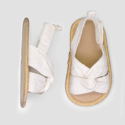 Baby Girls' Eyelet Sandals - Just One You® made by carter's White 0-3M - image 1 of 1