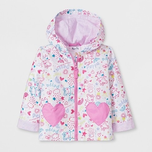 625d668f9005 Toddler Girls  Peppa Pig Rain Coat - White   Target