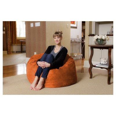 3' Kids' Bean Bag Chair with Memory Foam Filling and Washable Cover Orange - Relax Sacks