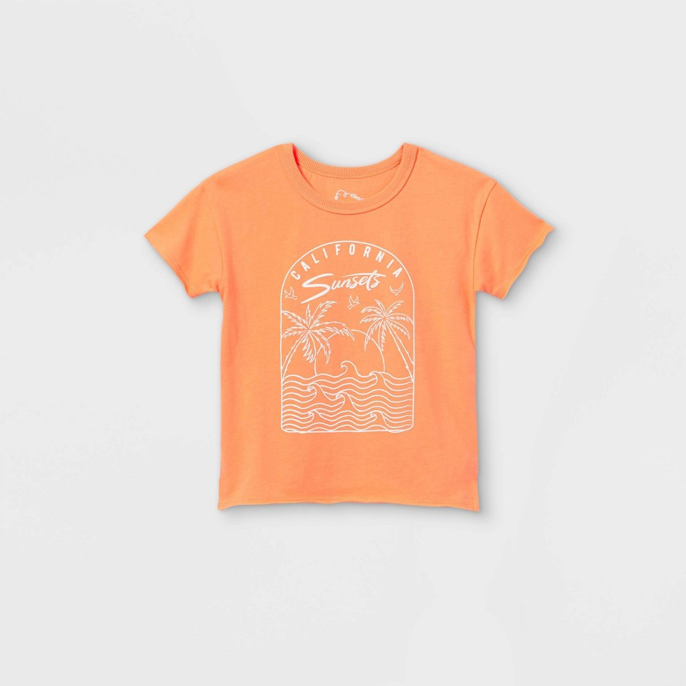 Toddler Palm Trees Short Sleeve T Shirt Art Class 8482 Orange 18m