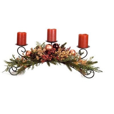 "Melrose 27"" Berry, Pine Cone and Ball Ornament Artificial Christmas Pillar Candle Holder - Red/Bronze"