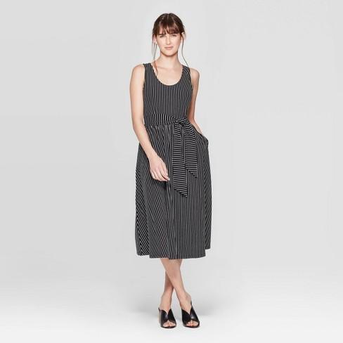 Women's Sleeveless Scoop Neck Waist Wrap Midi Tank Dress - Who What Wear™ - image 1 of 3