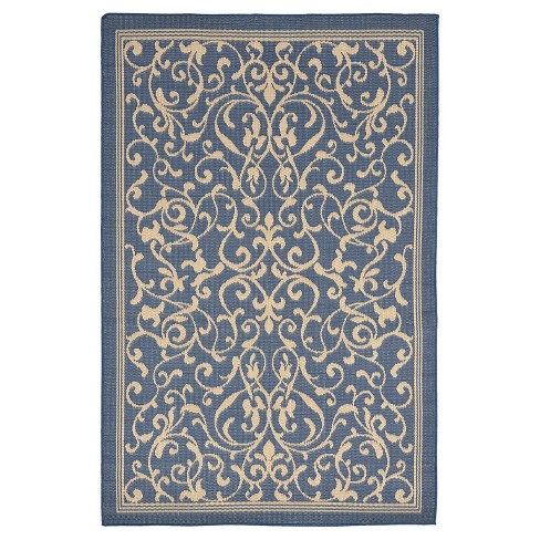 "Terrace Indoor/Outdoor Scroll Vine Marine Rug 4'10""X7'6"" Blue - Liora Manne - image 1 of 1"