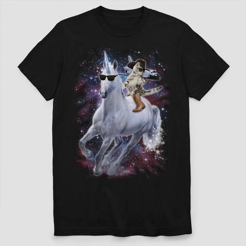 c5c4fb563 Men s Short Sleeve Unicorn Riding Cowboy Space T-Shirt - Black   Target