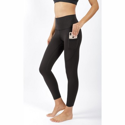 90 Degree By Reflex - Women's Wonderlink Elastic Free High Waist Ankle Length Leggings with Side Pockets and Curved Back Yoke