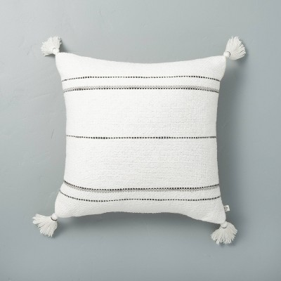 "18"" x 18"" Dotted Stripes with Tassels Throw Pillow Sour Cream/Gray - Hearth & Hand™ with Magnolia"
