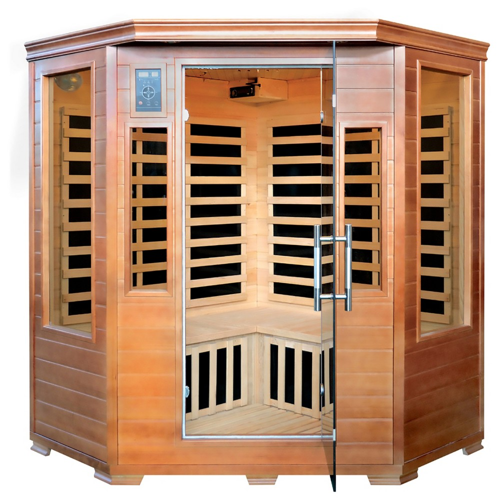 Majestic Saunas 3-Person Hemlock Corner Infrared Sauna with 7 Carbon Heaters, Brown