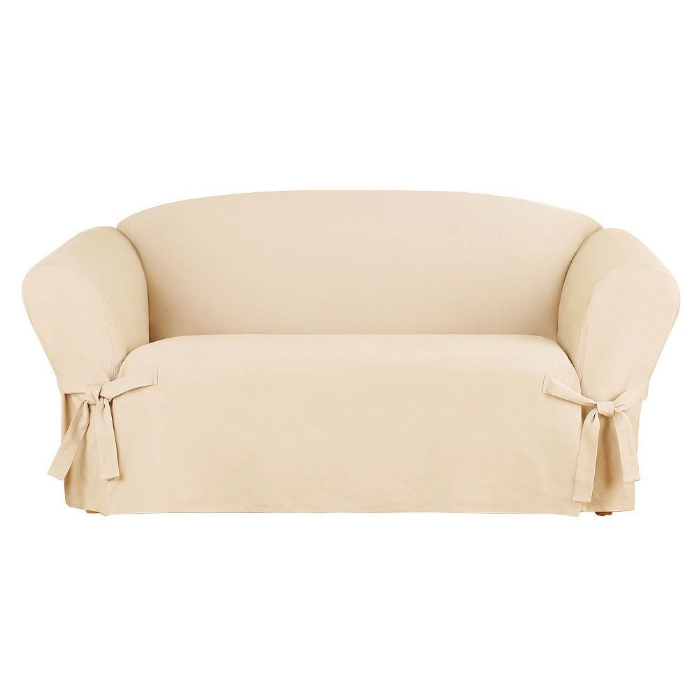 Heavyweight Cotton Duck Loveseat Slipcover Natural - Sure Fit