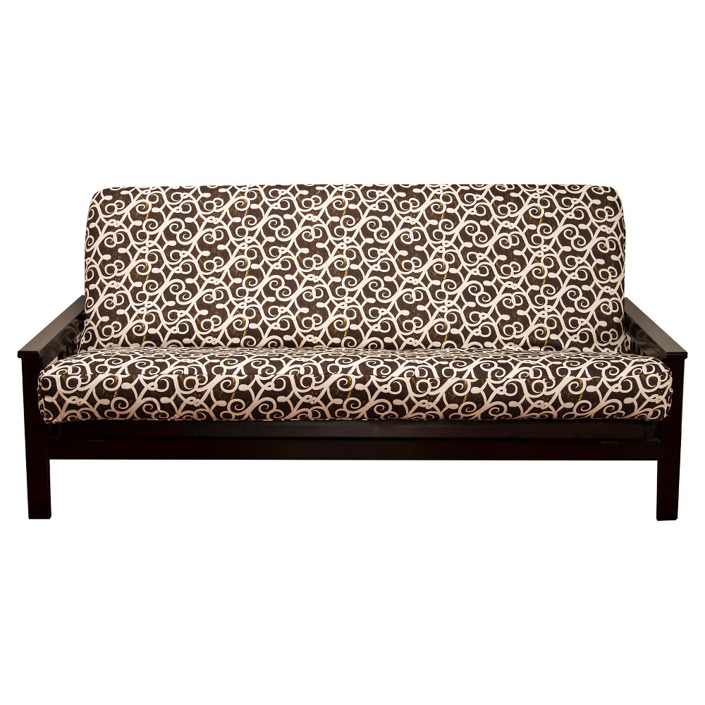 Image of Sabine Full Futon Cover Brown/White - Siscovers