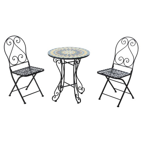 New Mosaic 3pc Metal Patio Bistro Set - Black - Sunjoy - image 1 of 4