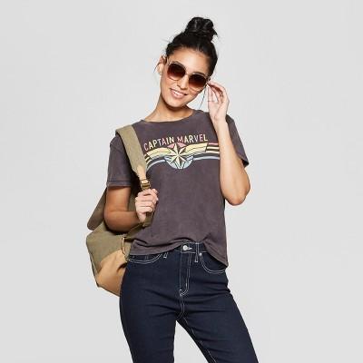 b21c33da40055 Women s Captain Marvel Logo Short Sleeve Graphic T-Shirt (Juniors ) -Black