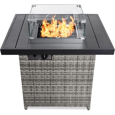 Best Choice Products 32in Fire Pit Table 50,000 BTU Outdoor Wicker Patio w/ Wind Guard	Glass Beads	Cover
