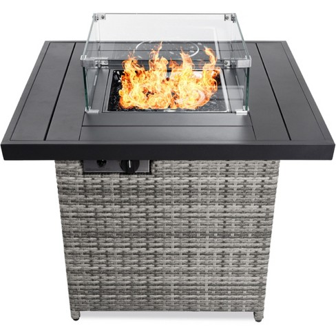 Best Choice Products 32in Fire Pit Table 50 000 Btu Outdoor Wicker Patio W Wind Guard Glass Beads Cover Target