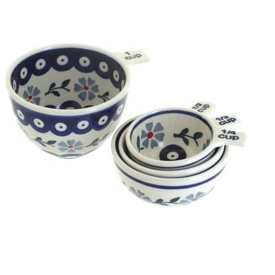 Blue Rose Polish Pottery Blue Violet Measuring Cup Set