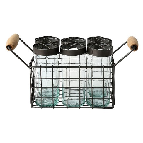 Metal Wire Basket with 6 Glass Jars - 3R Studios - image 1 of 1