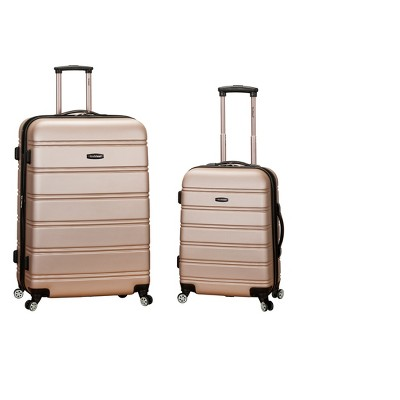 Rockland Melbourne 2pc Expandable ABS Spinner Luggage Set - Champagne