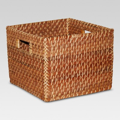 Rattan Rectangle Basket Brown (10 x10 )- Threshold™