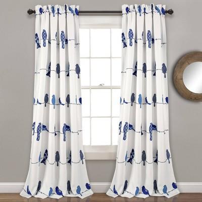 "Set of 2 95""x52"" Rowley Birds Room Darkening Window Curtain Panels Navy - Lush Décor"