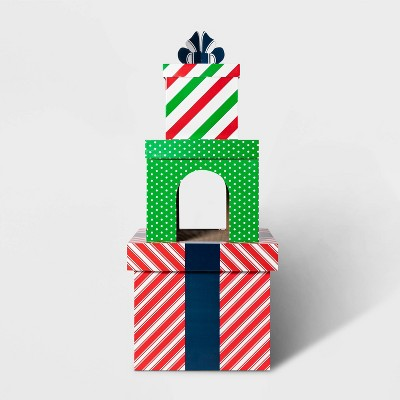 Double Decker Holiday Present Tower Cat Scratcher House - XL - Wondershop™