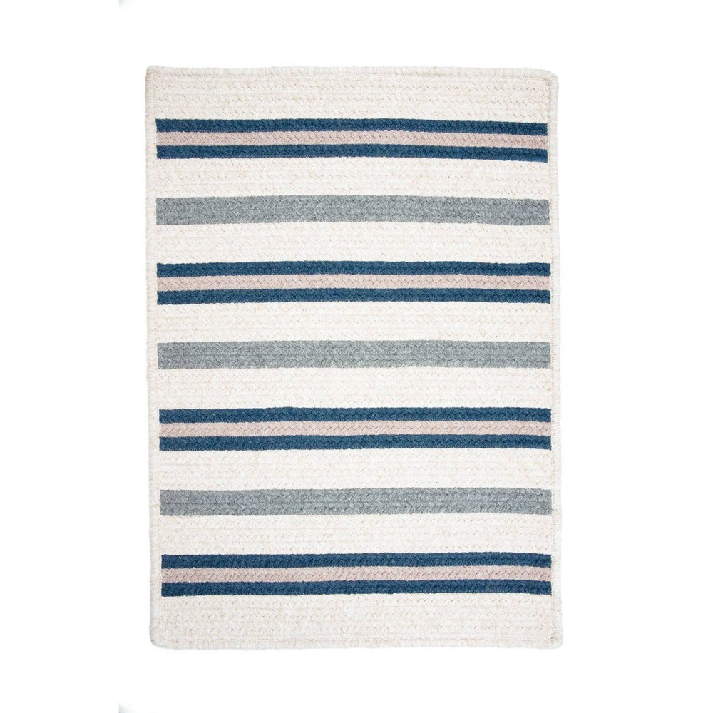 Uptown Stripe Braided Area Rug Blue