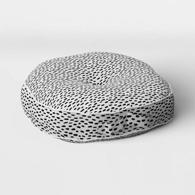 Woven Rounded Outdoor Floor Cushion DuraSeason Fabric™ Black - Opalhouse™