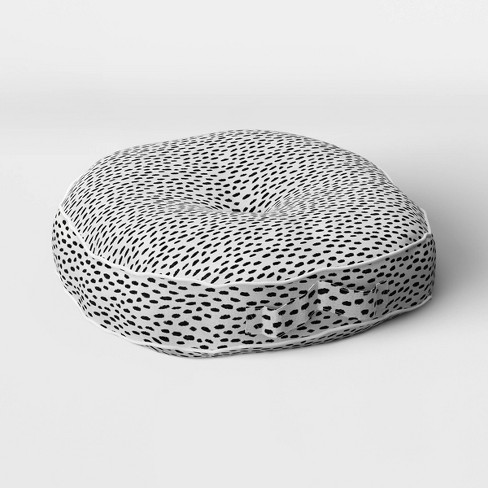 Woven Rounded Outdoor Floor Cushion DuraSeason Fabric™ Black - Opalhouse™ - image 1 of 2