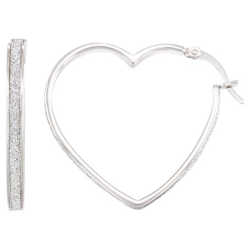 Platinum over Silver Glitter Heart Hoops-Platinum - image 1 of 1