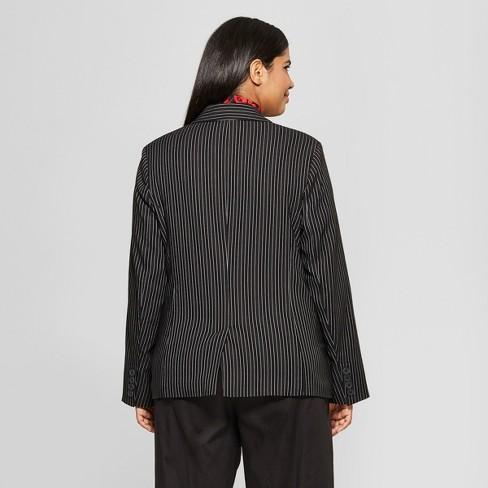 826fe45d8e31c Women s Plus Size Striped Classic Blazer - Who What Wear™ Black White  Stripe 3X   Target