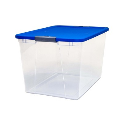 Homz 64 Quart Secured Seal Latch Extra Large Single Clear Stackable Storage Container Tote with Blue Lid for Home, Garage, or Basement, Single Bin