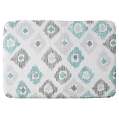 Social Proper Quiet Ikat Cushion Bath Mat (36 x24 )Blue - Deny Designs®