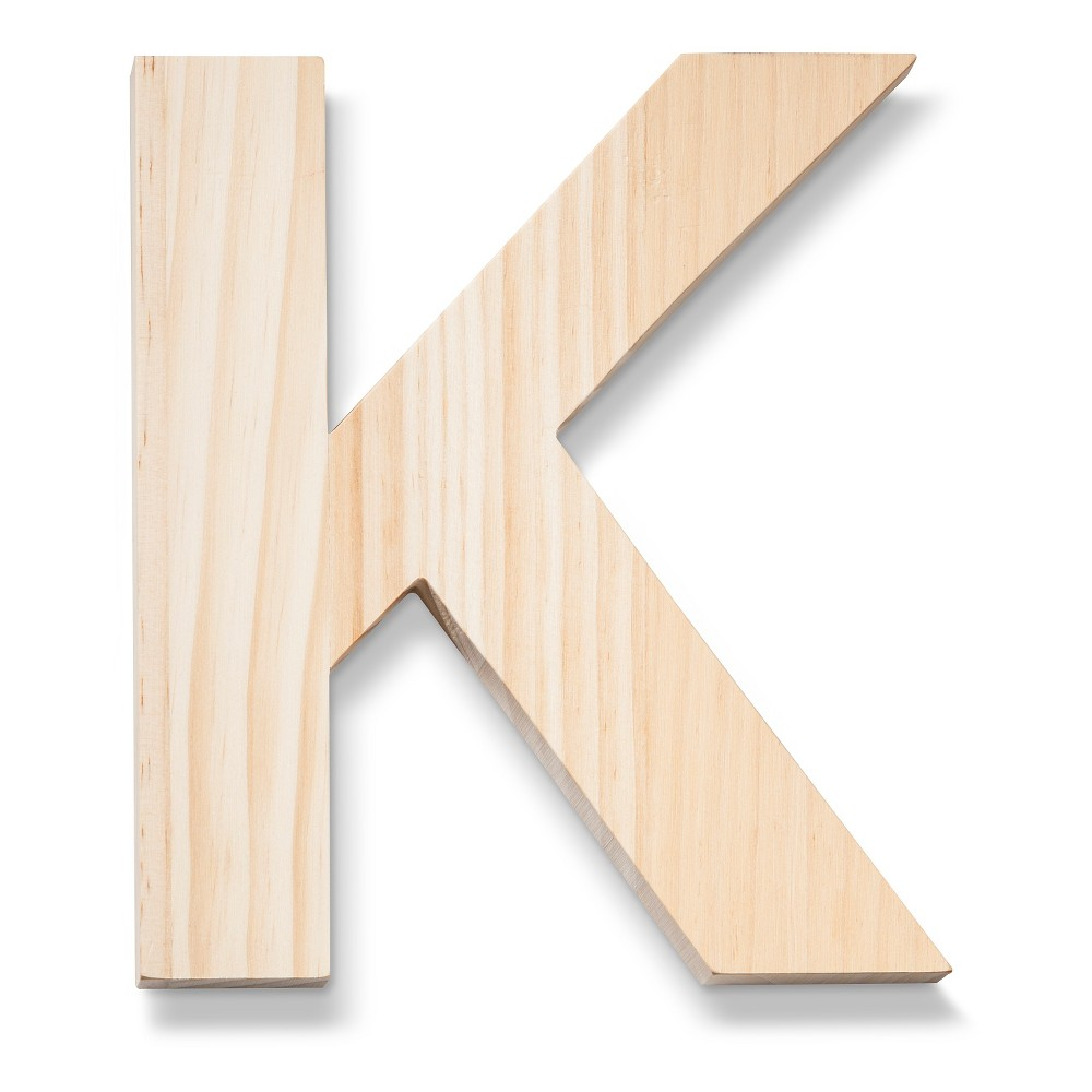 Hand Made Modern - Wood Letter Large - K, Neutral