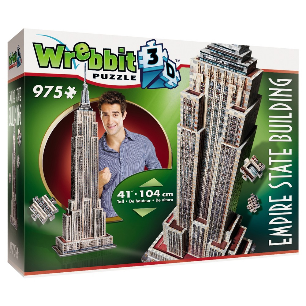 Wrebbit 2007 Empire State Building 3D Puzzle 975pc One of America's most famous icons, The Empire State Building was built in the 1930s in just 410 days. Standing 1,453 feet high, it was the first building with more than 100 floors and 73 elevators. Relive the building experience with our 975 pieces, 41 inch 3D puzzle. Three dimensional Puzzle of the Iconic Historic New York landmark Empire State Building. The Full color foam backed puzzle consists of 975 pieces.. Kink Kong is not included! Age - 12 and up. Puzzle dimensions - 13.39 x 8.27 x 40.94 inches. Warning: Choking Hazard - Small parts. Not for children under 3 yrs. Gender: Unisex.