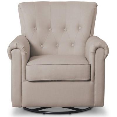 Delta Children Slim Harper Nursery Glider Swivel Rocker Chair - Flax