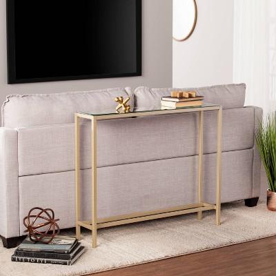 Dillard Narrow Console Table Gold - Aiden Lane : Target