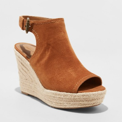 a5fe59cd000 Women s Cayla Microsuede Wide Width Shield Espadrille Wedge - Universal  Thread™ Taupe 7.5W   Target