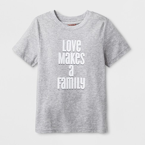 "Kids' Short Sleeve ""Love Makes A Family"" T-Shirt - Cat & Jack™ Heather Gray - image 1 of 2"