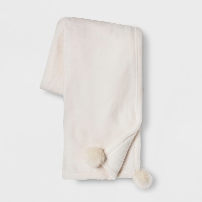 Solid Plush With Faux Fur Poms Throw Blanket   Opalhouse™ by Opalhouse