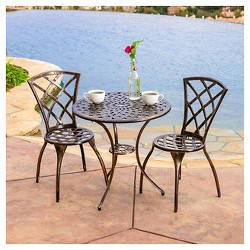 Modern 3pc Cast Aluminum Patio Bistro Set - Brown - Christopher Knight Home