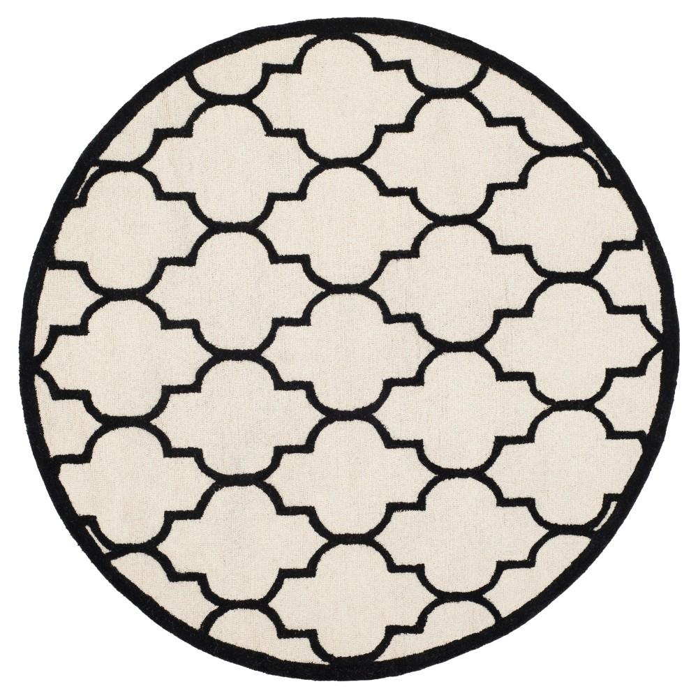 6' Geometric Area Rug Ivory/Black - Safavieh