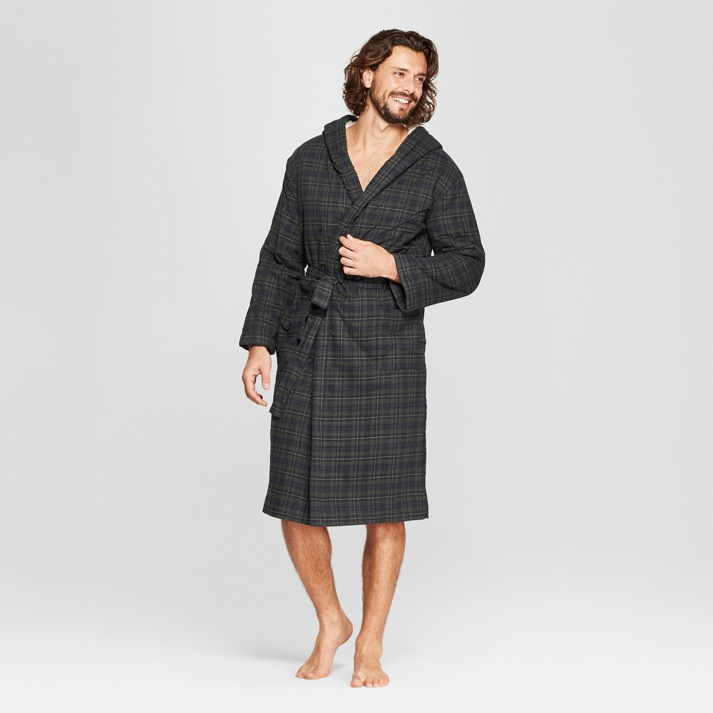 Men's Plaid Sherpa Robe - Goodfellow & Co Blue L/XL, Forest Green