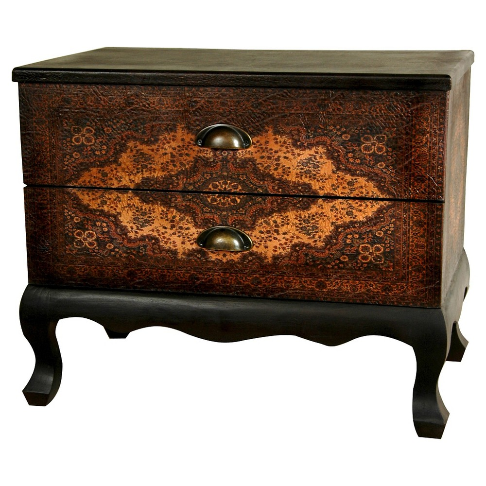 Olde-Worlde Euro Two Drawer Cabinet - Oriental Furniture, Brown