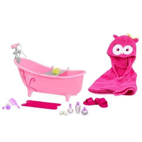 "18/"" Doll Pink BATHTUB Accessories Set OWL HOODED BATH TOWEL Fits American Girl"