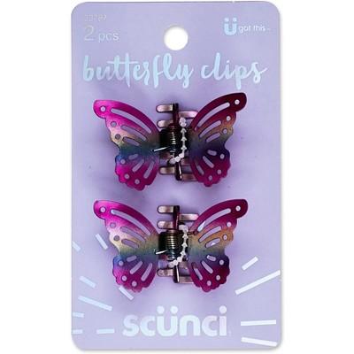 Scunci Metal Butterfly Firm Grip Jaw Clips - 2pk