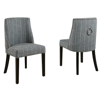 Paramount Pinstripe Dining Chair, Set Of 2   Blue Gray   Abbyson