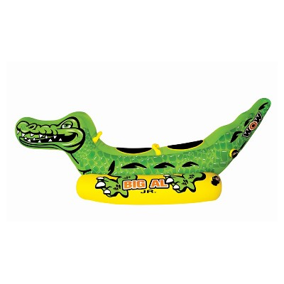 WOW Watersports Big Al Junior 2 Person Towable Inflatable Alligator Inner Tube Floating Boat Accessory with 340 Pound Capacity for Boating, Green