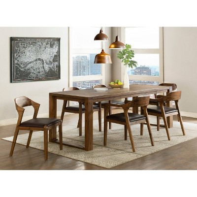 7pc Rasmus Extendable Dining Table Set with 2 Side Chairs And 4 Armchairs Chestnut - Boraam