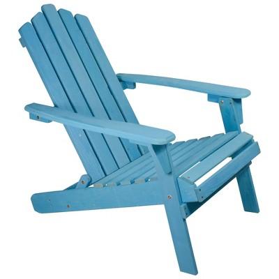 "Northlight 36"" Blue Classic Folding Wooden Adirondack Chair"