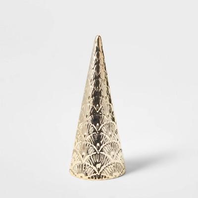 Small Art Deco Ceramic Tree Cone Decorative Figurine Gold - Wondershop™