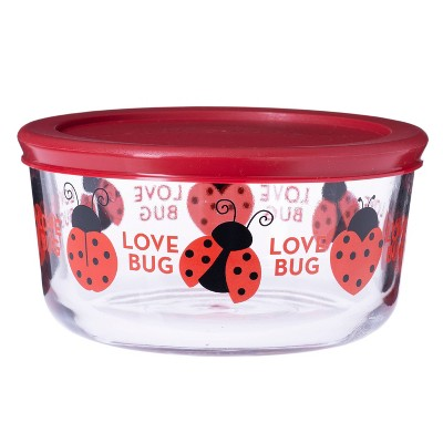 Anchor 32oz Glass Floral Love Bug Food Storage Container Red